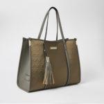 River Island - Khaki RI Embossed Nylon Shopper Tote Bag One Size (KHAKI).
