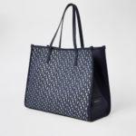 River Island - Navy RI Jacquard Shopper Tote Bag One Size (NAVY). . .